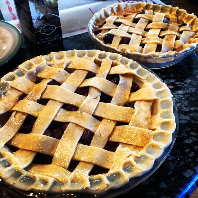 Latticed, brushed, and ready for the oven.
