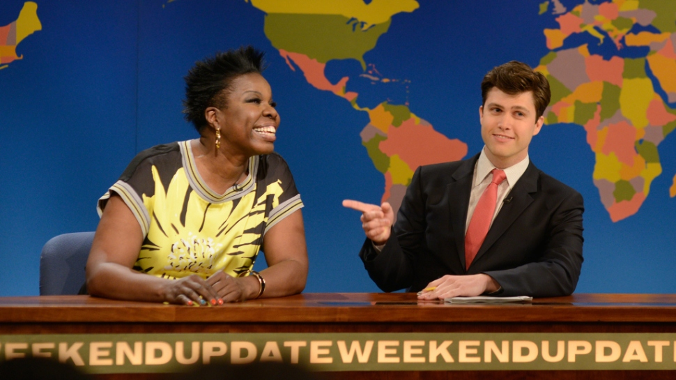leslie-jones, colin-jost, saturday-night-live, weekend-update