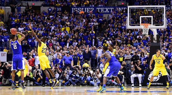 Aaron Harrison's game winning three versus Michigan last year (Via Sports Unbiased)