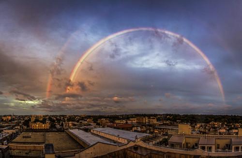 DOUBLE RAINBOW ALL THE WAY ACROSS THE BUSHWICK SKY (via Bushwick Daily)
