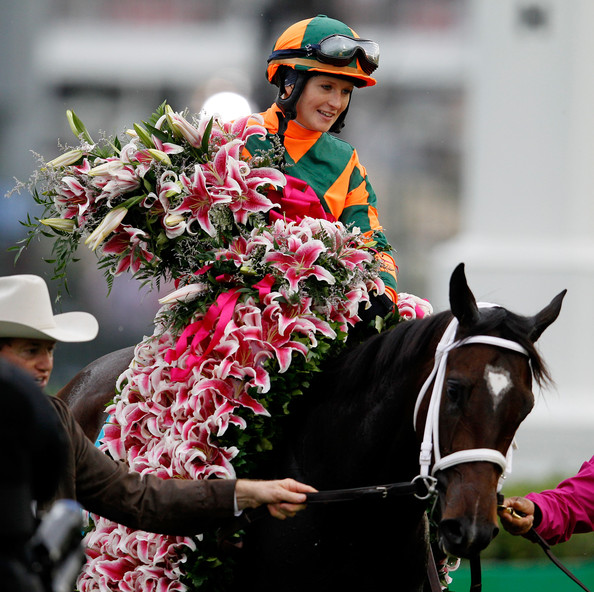 So much girl power, femal jockey Rosie Napravnik after winning Kentucky Oaks 138 on Believe You Can (Via Zimbio)