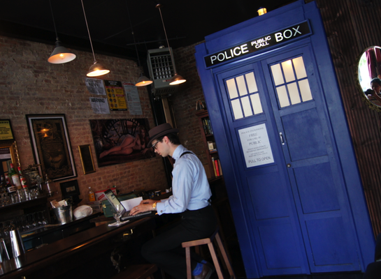 TARDIS in a bar! (via Comfy Chair)